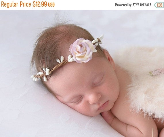 20% OFF SALE Wire Covered Halo with 4CM (1.5 inch) Lavender & Ivory Mulberry Rose, newborn photo, bebe fotografia, baby headband by Lil