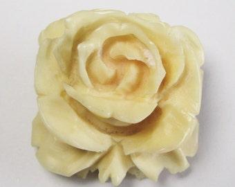 Vintage Rose Brooch - Hand Carved Brooch - Cream Rose Brooch