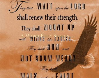 "CLEARANCE 8x10 Art Print ""They That Wait Upon the Lord"" Bible Verse Word Art on Matte Photo Paper, Christian Art and Home Decor"