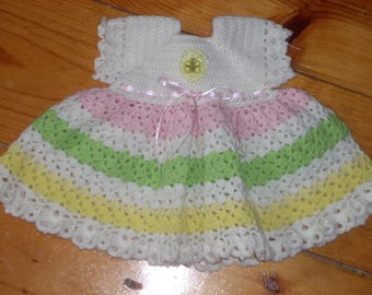 Pastels Crocheted Baby Dress - 3 months
