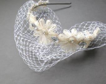 Romantic Venice Lace Bird Cage Head Band. Grey Rhinestones. Elegant Bride GIFT.  Head band Floral Halo. Boho Chic Bride.