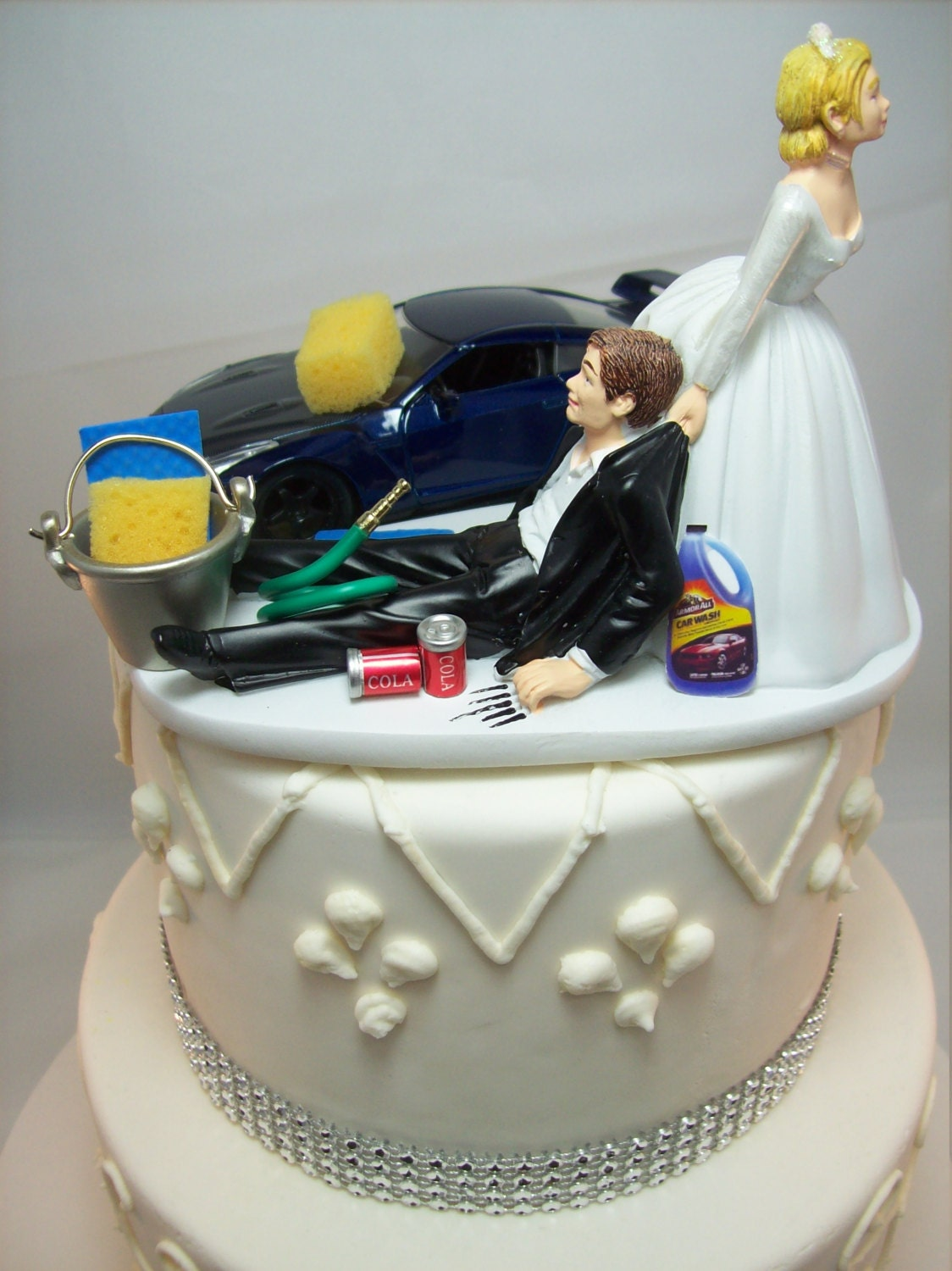 Funny Car Wash 2009 Nissan GTR Blue Auto Wedding Cake Topper
