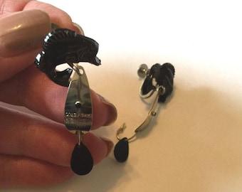 Fish and Lure Earrings - Screwback Earrings - Vintage