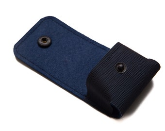 AirPods Pouch, Earphones Cover Case. Belt Loop. Keys Chain. Vegan. Navy. WeirdOldSnail