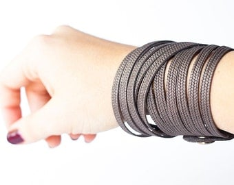 Leather Bracelet / Original Sliced Wrap Cuff / Zinc Shimmer