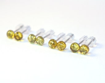 Natural Baltic Amber Stud Earrings, Genuine Green Amber Earrings, Studs Stainless Steel Earrings, 4mm Citrine Yellow Small Dainty Earrings