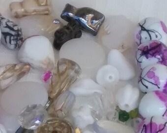 SALE ANTIQUE German Japan Mix-Vintage glass  (50pcs) colorful shapes lampwork pressed & more