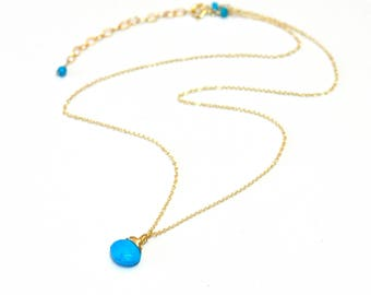 Gold-filled. Turquoise necklace - Minimalist Dainty Turquoise Solitaire Necklace, simple everyday jewelry. December Birthstone Necklace