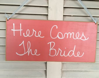 Coral and White Here Comes The Bride Sign, Wood Wedding Signs, Mint Green Wedding Decor