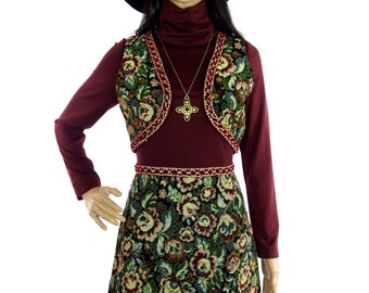 Lovely Autumnal 70s Tapestry Dress With Matching Waistcoat In Size Small