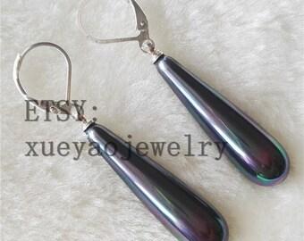 free shipping- shell pearl earrings, 30 mm white/colorful black shell pearl earrings