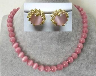 jewelry set- opal necklace, 10 mm pink opal necklace & earrings set