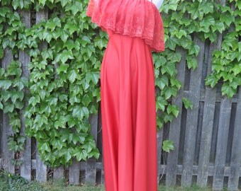 Vintage Burnt Orange Rust Off the Shoulder Lace Ruffle Maxi Dress, Size 8