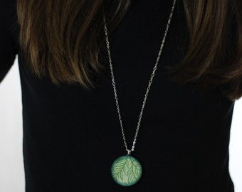 Green and Blue Leaf Wood Pendant Necklace // Silver Plated Long Chain // Gift for Her