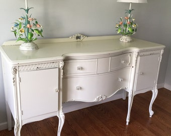 vintage large white shabby chic buffet/sideboard/french country/french buffet/console/chippy paint/painted furniture/LOCAL PICK UP Only