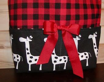 READY To Ship Diaper bag, handbag, purse, book bag..Giraffes N Plaid..Size is 10x12 Inches