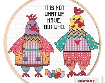 Chicken Couple Cross Stitch Pattern Chart PDF Love Gift Instant Download
