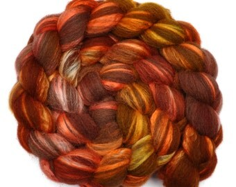 Hand painted combed top roving - Silk / BFL wool 30/70% spinning fiber - 3.9 ounces - Carriage Lantern 2