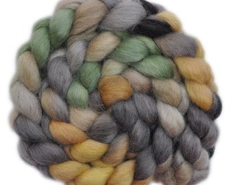 Hand painted wool roving - Wensleydale wool combed top spinning fiber - 4.1 ounces - Stone God