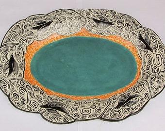 ceramics and pottery serving platter; ceramic serving platter; bird plate; ceramic bird; ceramic art