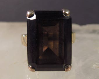 CLEARANCE ~ 25% OFF!  Seta Gold-Plated Ring with Genuine Smoky Topaz in Emerald Cut