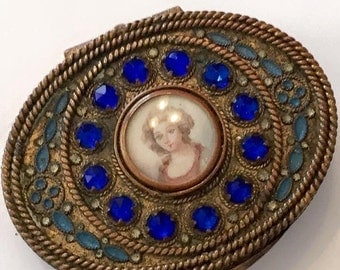 Antique Jeweled Brass Gilt Mirrored Trinket/Pill Box with Hand Painted Portrait