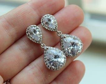 Silver Earrings, Crystal Stud Earrings, Crystal Jewelry, Bridal Jewelry, Wedding Jewelry, Bridal Earrings, Wedding Earrings, Bridesmaid Gift
