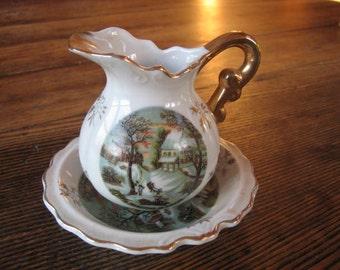 "Enesco Miniature Pitcher & Bowl  Creamer Set ""Homestead in Winter""  White w Gold Trim"