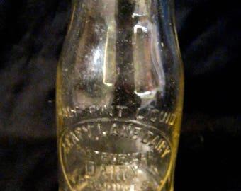 On Sale Vintage LEAFY LANE DAIRY Princeton Illinois 1/2 Pint Clear Glass Milk Bottle