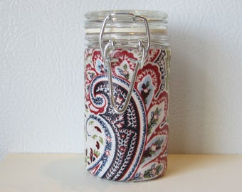 Small Glass Stash Jar : Latch Top Jar - Red White and Blue Paisley