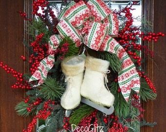 ICE SKATES and RED Berries Christmas Wreath