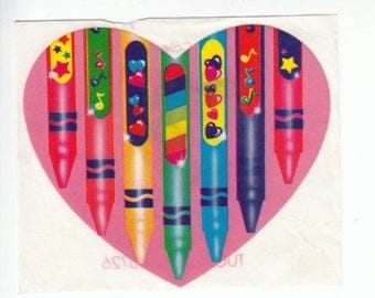 SALE Lisa Frank Large Pink Heart Crayon Very Rare Vintage Sticker - 80's 3 Inches Wide - Rainbow