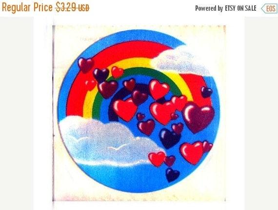 ON SALE Rare Vintage Lisa Frank Love Rainbow with Floating Hearts Sticker 80's