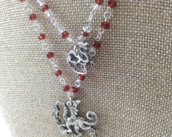 Dragon red crystal sterling silver necklace