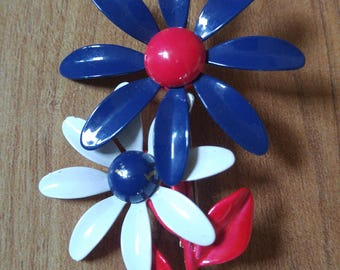 60s Mod red white and blue flower brooch