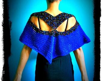 Crochet Poncho,Knit Poncho,Wrap,Shawl,Cape,Capelet,Womens Poncho,Sweater,Gypsy,Hippie,Boho,Handmade,Sexy,Blue,Black,Sparkle,Colorful
