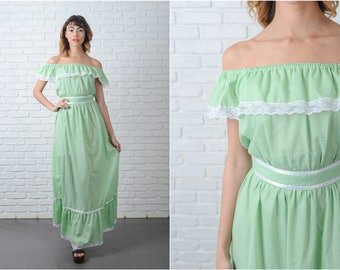 Vintage 70s Green Boho Hippie Dress Gingham Plaid Lace Maxi Small S 9113
