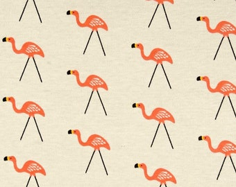 Organic KNIT - Flamingos Lawn Ornaments on Light Tan from Cloud 9 Organic's Sidewalk Collection