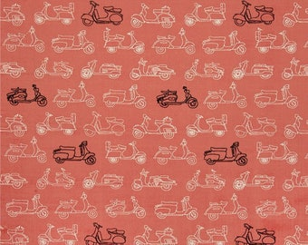 Moped Scooters on Coral From Birch Organic Fabric's Trans-Pacific Collection by Jay-Cyn Designs