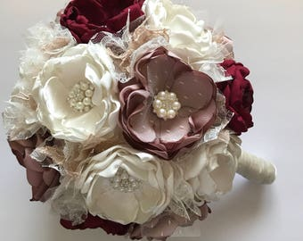 Extra Large Bouquet - Mauve, Cream and Wine Red - Fillers in Cream and Champagne, Fabric Wedding Flowers, Bridal Bouquet, Bride, Wedding