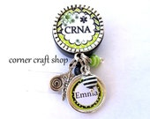 CRNA NURSE Personalized Name Charm Retractable Badge Reel Holder ID Reel w/ Charms Caduceus Beads Id tag,  5 Colors to pick
