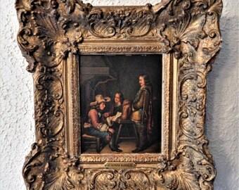 Sale Antique Dutch Oil Painting Portrait of Three Men European Genre Art J. Van Kree Baroque Gold Frame Home Decor