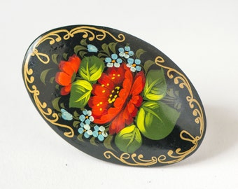 Lacquer brooch Russian hand painted, flowers wooden black brooch, red blue blossom brooch oval, traditional Russian brooch bouquet gift her