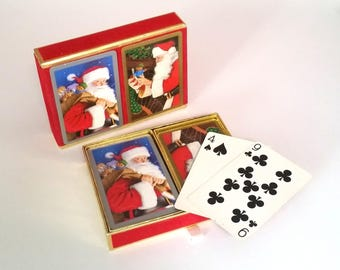 50s SANTA Playing Cards - CONGRESS - Double Decks in Red Suede Case - Printed in Spain
