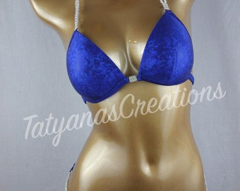 In Stock : Sapphire Blue Competition Bikini B cup, Small bottom.