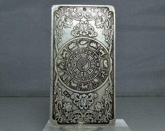 RESERVED... Do not Purchase... Vintage Chinese Silver Bar Ingot Bullion 4.6 ounce Designs on Both Sides Dragons and the Chinese Zodiac