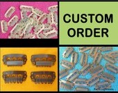 CUSTOM ORDER - 28mm Wig Clips - 40 Clips in 2 colors - Small NoSlip Clips, No Slip Hair Clips, Comb Clips, Bulk Weft Clips