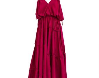 Red maxi dress/ Beach wedding dress/ Kaftan dress/ Loose maxi dress/ Summer kaftan dress/ Maternity dress/ Convertible dress/ Long tunic
