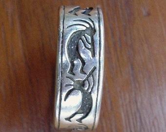 Hopi Kokopelle Flute Player Sterling Ring size 8.25