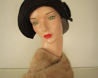 Hand Knit Hat Downton Abbey Vintage Style 1920s Pure Wool